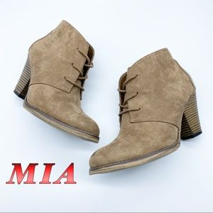 MIA-Tan Faux Suede lace up Ankle Heel bootie 8